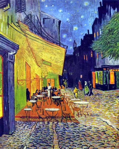 Es Entstanden, In Teils Bedrohlich Wirkenden Farben, Die Nachtbilder  Terrasse Des Cafés An Der Place Du Forum In Arles Am Abend, Das Nachtcafé  An Der Place ...